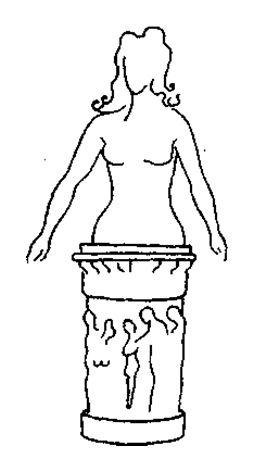 Вознесение на пьедестал убирает у человека почву из-под ног, так же как и в состоянии подвешенности. Ттело от таза вниз выглядит, как пьедестал. Оно жесткое и неподвижное и, кажется, служит только как основание для верхней части